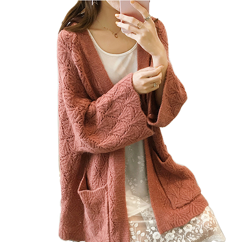 2018 Spring and autumn sweater Fashion Women Short Sleeve loose knitting cardigan sweate ...