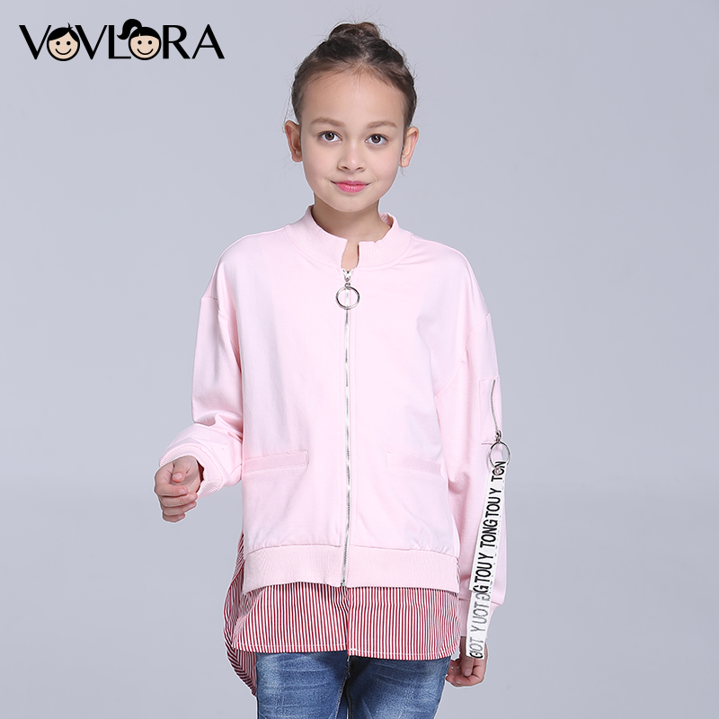 Kids Coat Jacket Long Sleeve Patchwork Turtleneck Girls Coat Cotton Fashion Children Outerwear Spring 2018 Size 7 8 9 10 11 12 Y