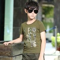 FreeArmy Brand Summer Boys T-Shirt Army Green Short-Sleeve Cotton Boy's Tops Tees Children's Letter Printing Tshirts 110-160