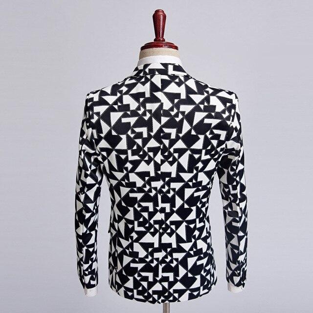 Black White Triangle Pattern Blazer Slim Fit Designs  1