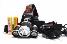 Best 9000 Lumen 3x  XM-L L2 LED Headlamp Headlight Caming Hunting Head Light Lamp 5 Modes+2*18650 5000mah Battery+AC/Car Charger