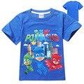 3 colores niños niñas ropa de Los Niños camiseta de algodón de manga corta camiseta con PJMASKS de dibujos animados muchacho del verano de la ropa de nuevo 2017