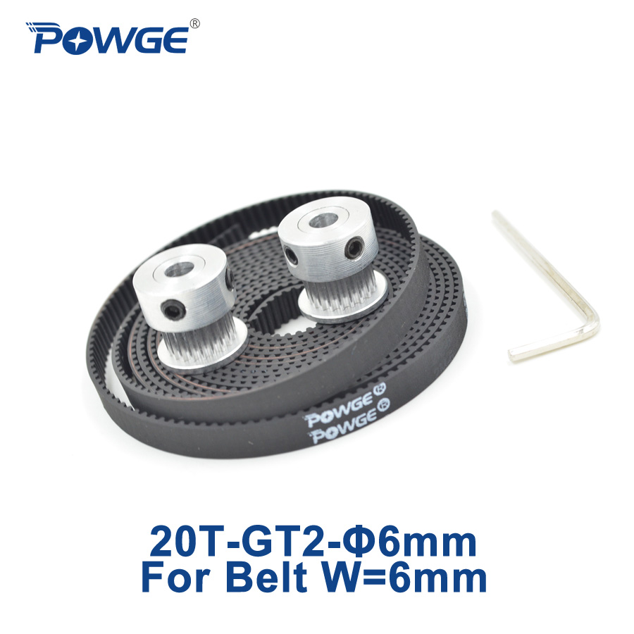 Powge 2pcs 20 Teeth Gt2 Timing Pulley Bore 6mm 2meters Srt 4 Belt Synchronous Width For 3d Printer 20teeth 20t