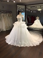 Puffy Ball Gowns Short Sleeves Wedding Dresses Vintage Lace Perfect Bridal Gowns Vestido Longo 2018 Princess Style Custom Made
