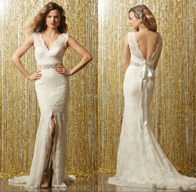 cff2499eece39 Sexy Lace Wedding Dress with Split Mermaid Low Back New Style Bridal Party  Free Shipping Vestido De Noiva BG033-in Wedding Dresses from Weddings & ...