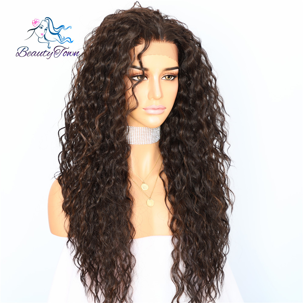 Image 2 - BeautyTown Kinky Curly Type Futura Heat Resistant Hair Black Highlight Gold Women Daily Makeup Synthetic Lace Front Party Wig-in Synthetic Lace Wigs from Hair Extensions & Wigs