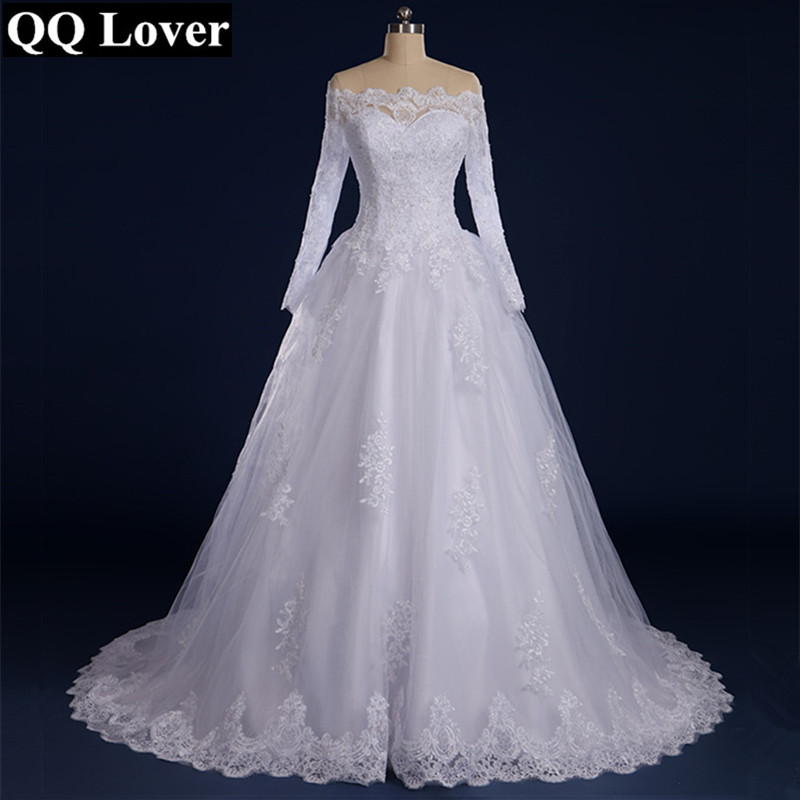 QQ Lover 2019 Vestido De Noiva Beaded Appliqued Long Sleeve Lace Wedding Dress 2019 Boat Neck