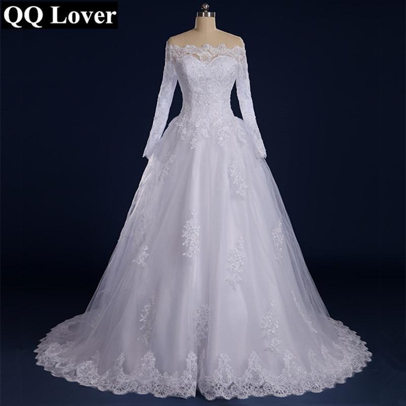 QQ Lover 2019 Vestido De Noiva Beaded Appliqued Long Sleeve Lace Wedding Dress 2019 Boat Neck Wedding Dress