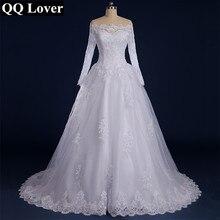 QQ Lover 2019 Vestido De Noiva Beaded Appliqued Long Sleeve Lace Wedding Dress 2019 Boat Neck
