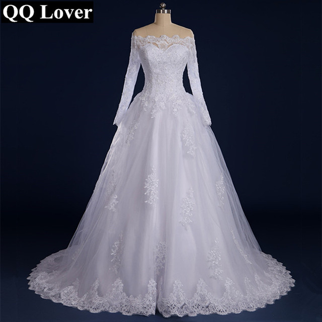 Beaded Appliqued Long Sleeve Lace Wedding Dress Boat Neck Wedding Dress