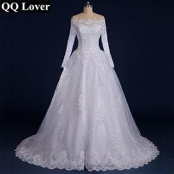 Qq lover 2019 vestido de noiva com contas apliqued manga longa renda vestido de casamento 2019 barco pescoço vestido de casamento