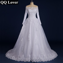 Wedding-Dress Beaded-Appliqued Lace Long-Sleeve Qq-Lover Boat-Neck Vestido-De-Noiva