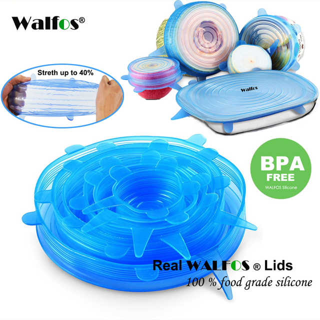 WALFOS 100% Food Grade REAL silicon stretch lids universal lid Silicone saran food wrap-bowl pot lid-silicone cover pan Kitchen