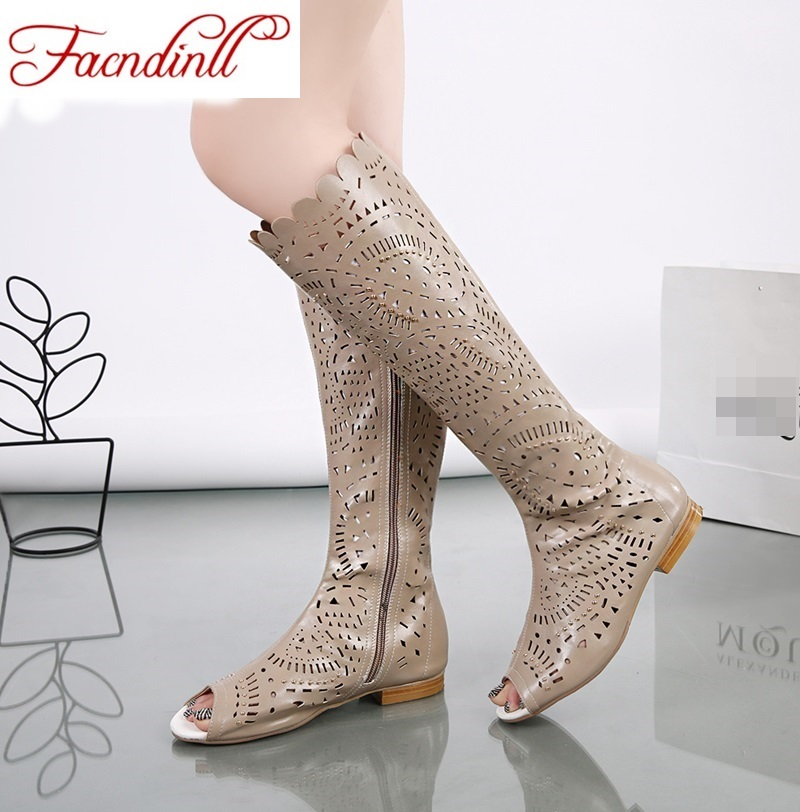 ФОТО New 2016 spring summer boots women knee high boots fashion womans cool cut outs mesh breathable shoes womens single shoes casual