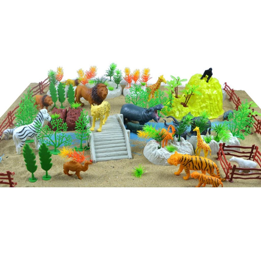 MagiDeal 100 Pieces Plastic Wild Animals Figurine Zoo Animals Fence Tree Model Toys for School Classroom Children Birthday Gift figurine