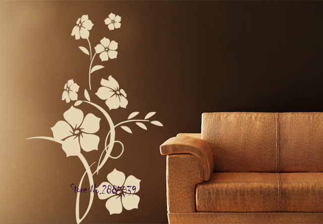 New design flower ornament wall stickers home decor living room diy self adhesive vinyl decal