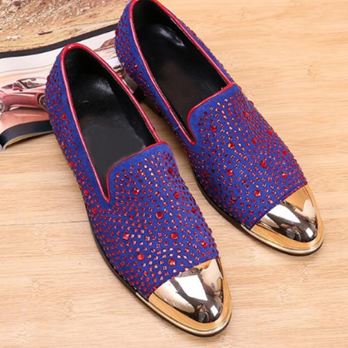 New gold toe and purple full rhinestone handmade men loafers men fashion leather slippers men party wedding dress men's flats handmade red suede men shoes with gold rhinestone and gold toe metal party and banquet men dress loafers male s flats