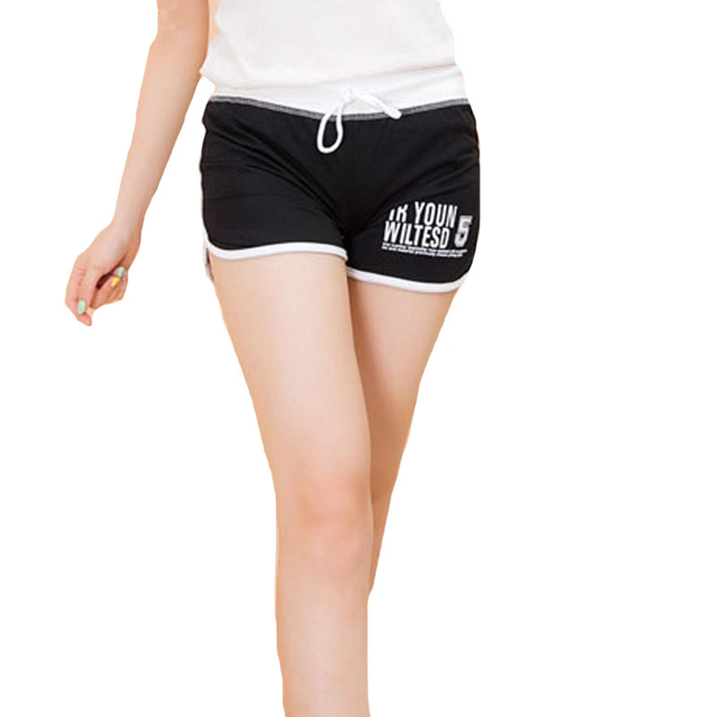 Summer Casual Letters Shorts Women Sportswear Black Cotton Drawstring Shorts Women's Clothing Fitness Plus Size Shorts