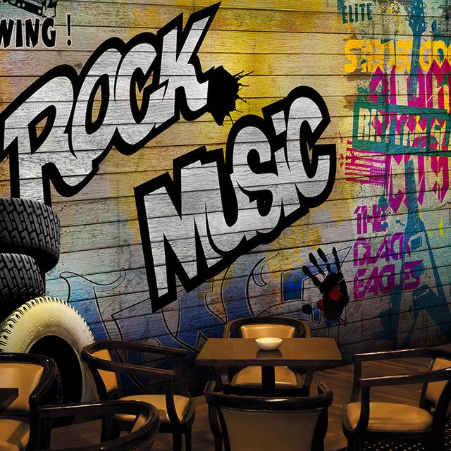Custom 3d Mural Personality 3D Stereo Graffiti Wallpaper Locomotive Cafe Lounge Large Hotel Restaurant