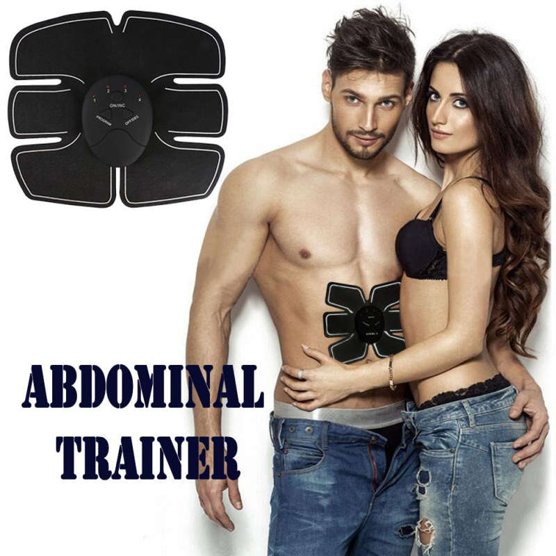 2017 Hot Man Women Useful Electric Abdominal Muscle Trainer Body Massage Fit Training Six Point Belly Pad Massager Beauty Tools massager ergonomic design body self back hook massage stick muscle deep pressure original point body relaxation hot new