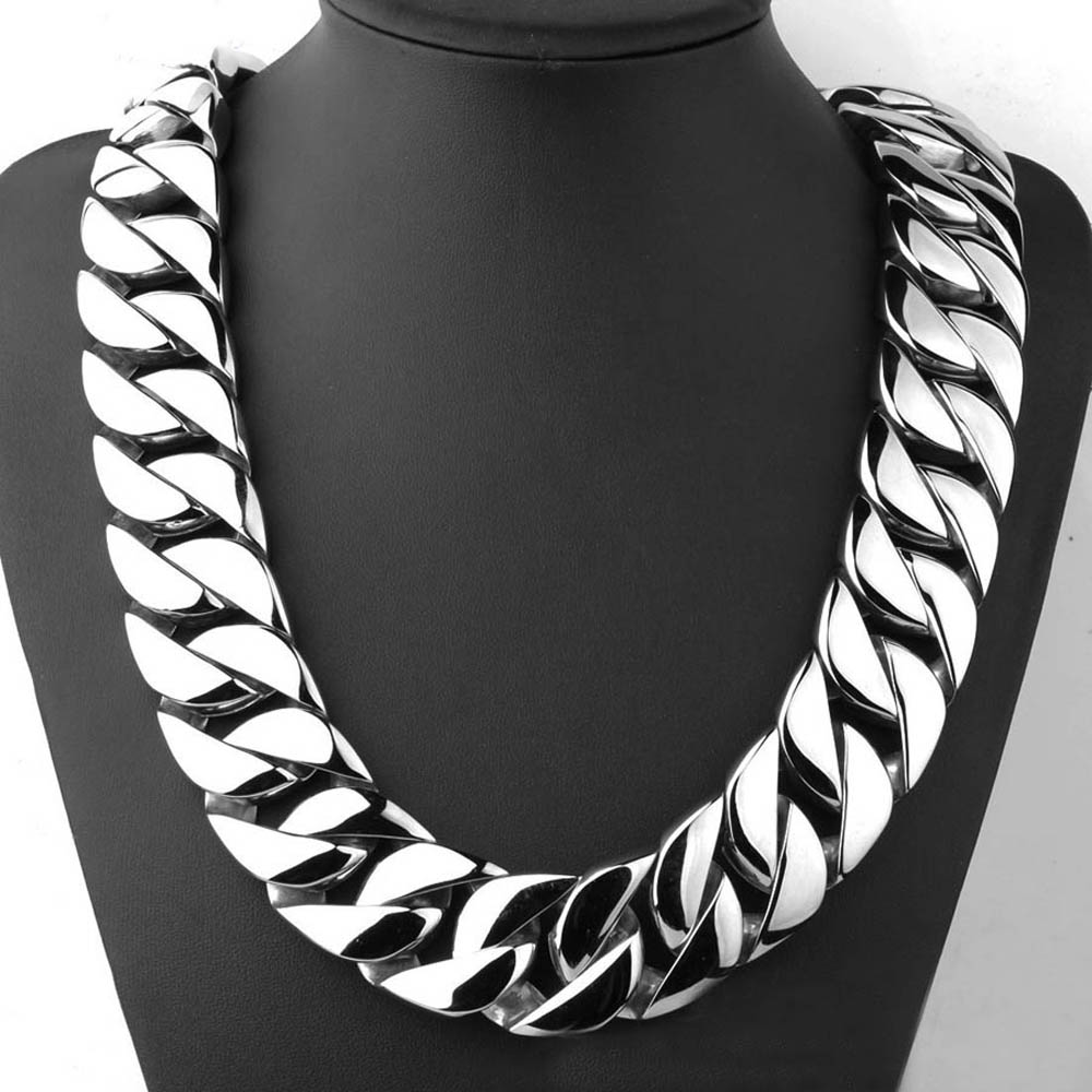 30mm 28 Inch T Show Super Heavy Curb Cuban Boys Mens Chain Necklace Gold Silver Tone Oversize Stainless Steel Exaggerate Jewelry