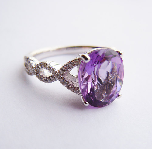 Wellmade Solid 925Sterling SilverAmethyst Engagement Wedding Ring цена и фото