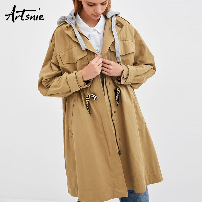 Artsnie Autumn 2018 Khaki Long   Trench   Coat Women Streetwear Double Pockets Casual Winter Hooded Coats Female Overcoat Feminino