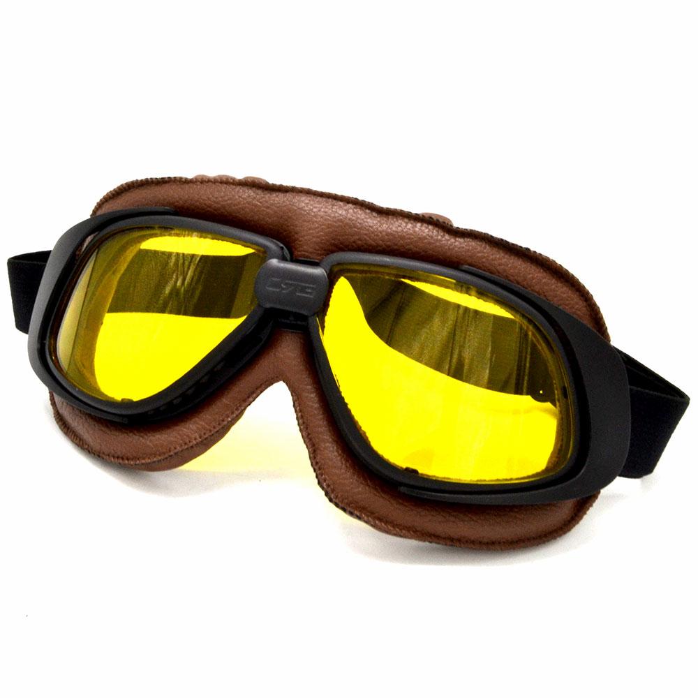 be68eb80e791 Universal casque lunettes avec jaune objectif moto lunettes pilote cru  motard En Cuir Lunettes ski lunettes racing lunettes