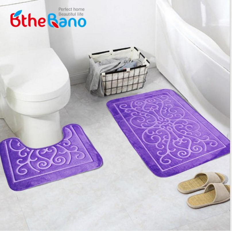 2pcs Toilet Pattern Bath Anti Slip Mat Geometric Design Bathroom Rug Mat  Set Badmat Bathroom Carpet For Bathroom Decoration