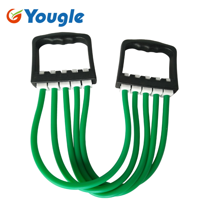 YOUGLE Removable Indoor Sports Supply Chest Expander Puller Exercise Fitness Resistance Cable Rope Yoga 5 Tube Resistance Bands