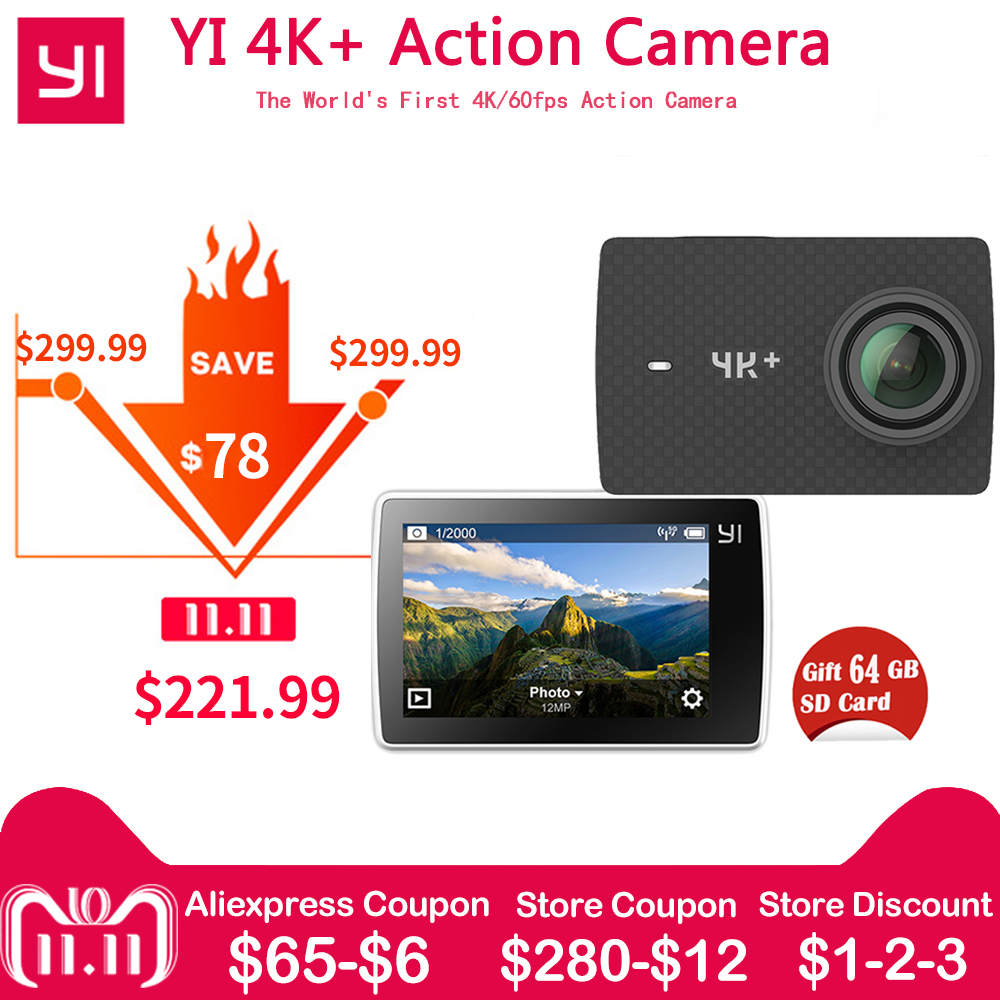 Free 64G SD Card Xiaomi YI 4K+(Plus) Action Camera Xiaoyi 4K+Action Cam First 4K/60fps Amba H2 12MP 155 Degree 2.19 RAW yi 4k plus action camera 64 gb sd card 2 19 ambarella h2 for sony imx377 12mp 155 degree 4k ultra hd for xiaomi 4k sports cam