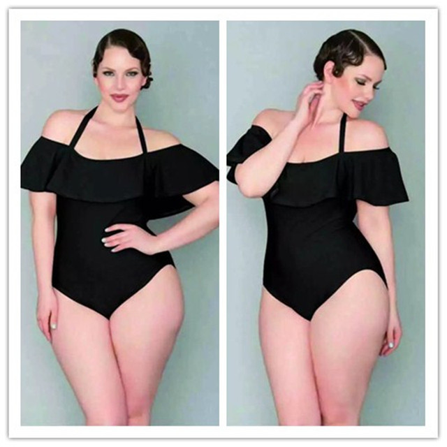 a9e01a7032b 2018 Vintage Plus Size XL- 4XL Black Velvet One Piece Swimsuit For Fat  Women Ruffle Off Shoulder One Piece Bathing suit For Wome
