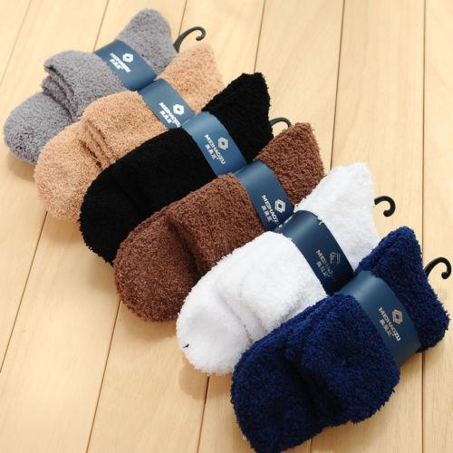 Thick Winter Warm Coral Fleece Slipper Floor Socks For Mens Womens Non-slip Towel Socks 5 Color
