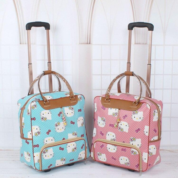 """Нові! 16 """"жінок Корея моди стиль подорожі duffle, жіночий hello kitty мультфільм подорожі багаж сумку на колесі, подорожі шкіряні сумки"""