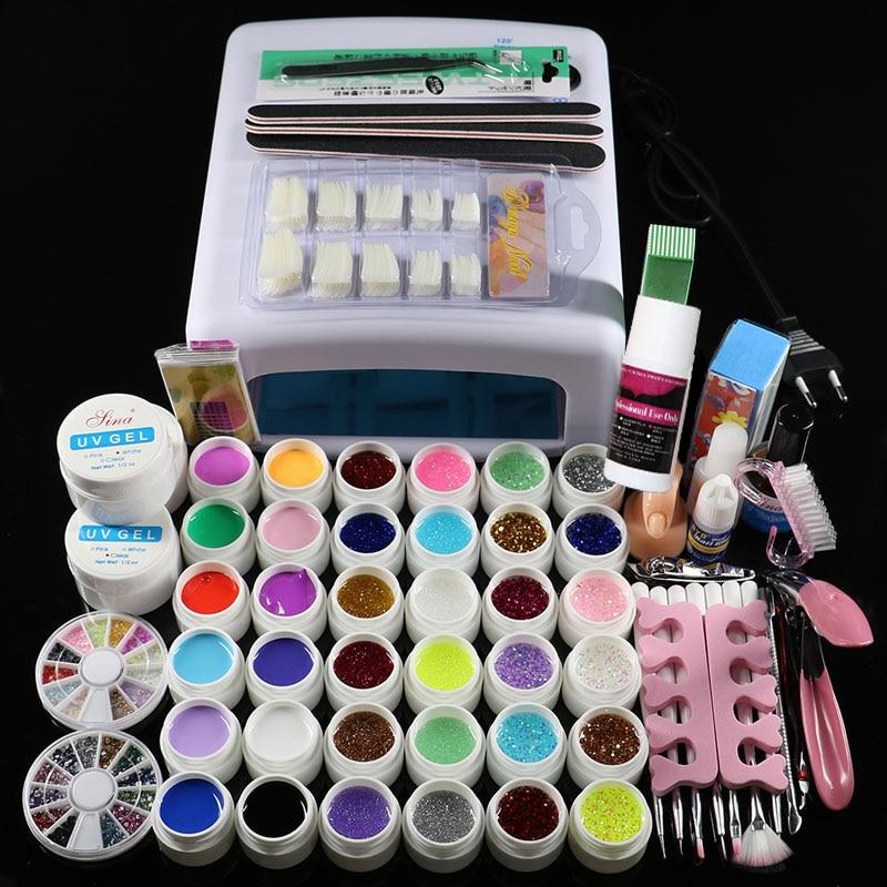 Nouveau Pro 36 W UV GEL Blanc/Rose Lampe et 36 Couleur Gel UV Nail Art Tools Sets Kits