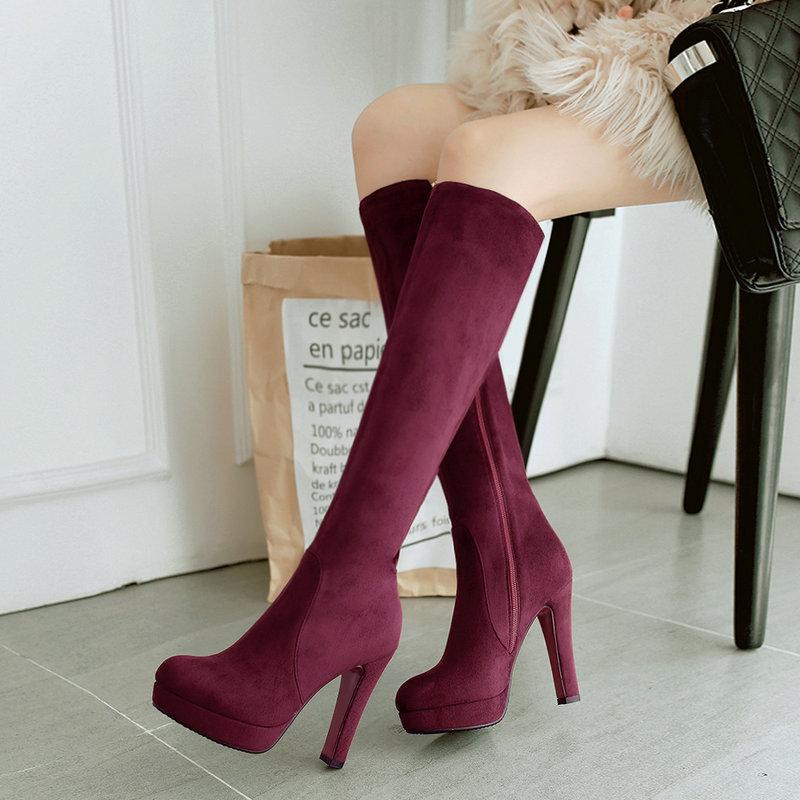 Black Gray Women Flock Square High Heel Knee High Boots Fashion Platform Zipper Boots Autumn Winter Woman Shoes Brown Wine Red