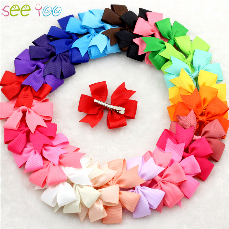 30pcs/lot bebe bow clips little Girls hair grosgrain ribbon Bow for hair Boutique hairpins girl hair accessories free shipping цена и фото