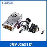 500W Brushless Spindle ER11 DC Spindle Motor Air Cooled CNC Rounter Motor+Stepper Motor Driver+ Power Supply+ 55MM Spindle Clamp