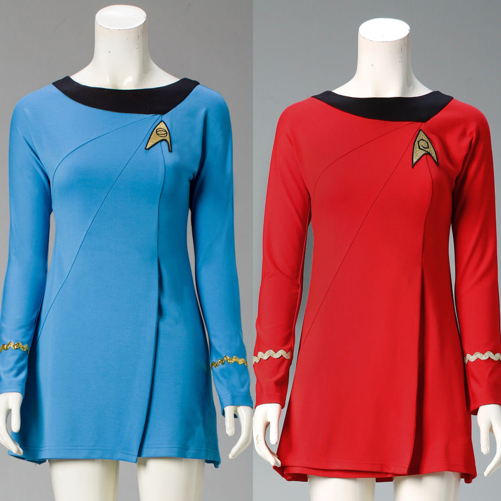 High Quality Startreks Female Uniform Dress Duty TOS Cosplay Costume ST Costume Red Blue Halloween party