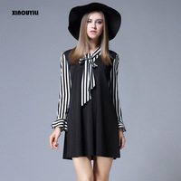 Europe United States Large Size Dresses Women S Autumn New College Wind Bow A Line Large