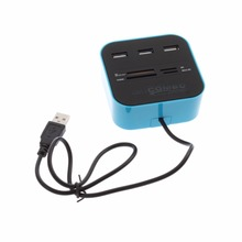 1Pcs USB 2.0 hub Combo All In One Multi-card Reader with 3 ports for SD/MMC/M2/MS Blue Color Wholesale C1