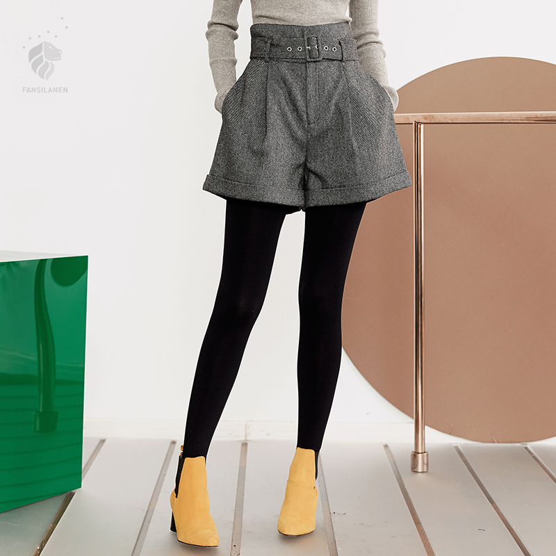 FANSILANEN 2018 New Arrival Fashion Autumn/Winter Women Wool Woolen   Shorts   High Waist Solid Gray Cheap Clothes China Z73141