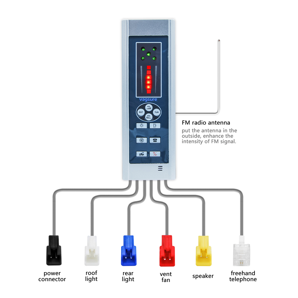 Vagsure 1Pcs 20 6 5cm Digital Shower FM Radio Fan Speaker Freehand Computer Control Panel Shower