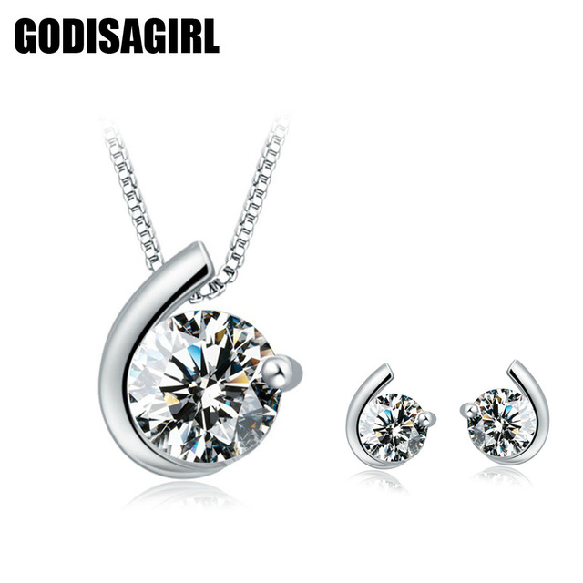 1b5ee9d4b311b US $2.09 5% OFF|New Luxury Austrian Crystal Inlaid Moon Design Silver  Plated Women Stud Earrings Pendant Set Silver Plated Jewelry Set For  Women-in ...