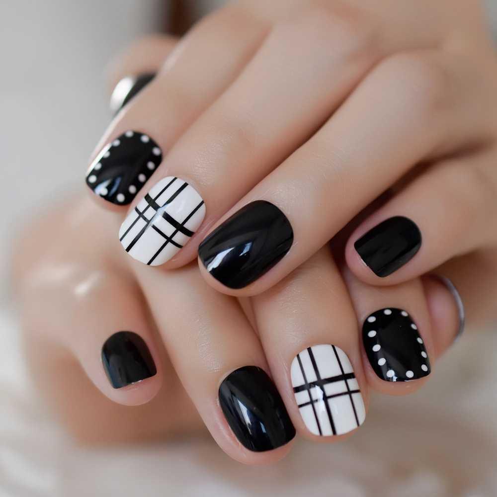 24pcs/set Classtic Black White Fake Nails Lattice Grid Artificial French  False Nails Tips Press on Nails with Glue Sticker False Nails  - AliExpress