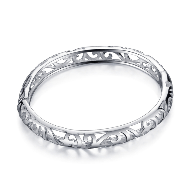 1e79365554ae Mujer de moda encanto pulsera  plata de ley 925 ahueca hacia fuera el  brazalete media