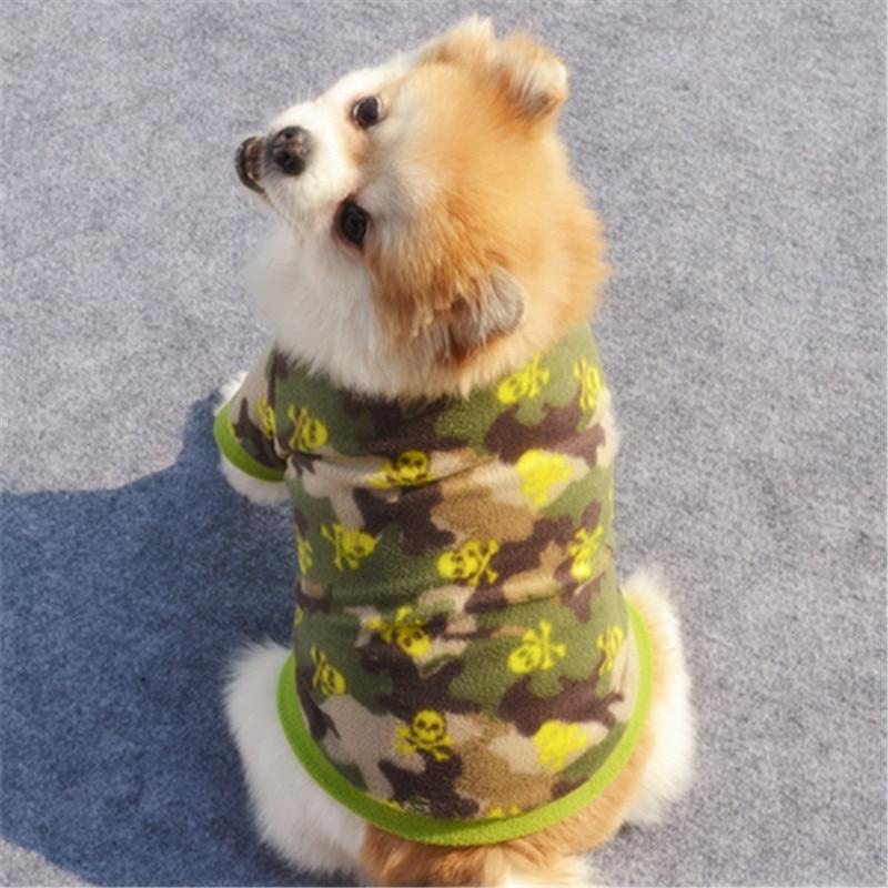 Теплый флисовый лежак для животных Одежда для собак с изображением черепа; Пальто любимчика щенка футболка для собак куртка панель в форме французского бульдога пуловер камуфляжной расцветки для собак, одежда для собак-1