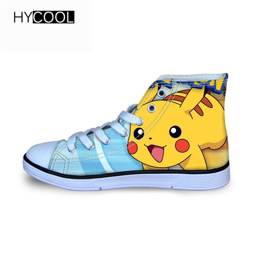 HYCOOL Kids Shoes Pikachu pattern school girls sneakers sport children ultra-light 3D Anime Cartoon Pokemon boys boots shoes