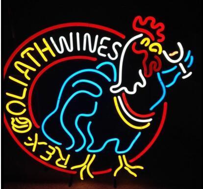 Rex Goliath Wines Glass Neon Light Sign Beer Bar