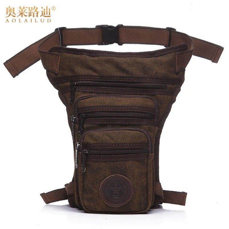 Mens Canvas Drop Leg Bag Messenger Shoulder Belt Hip Bum Fanny Waist Pack for Travel Trekking Motorcycle Riding New